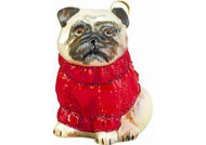 Pug w/Red Cable Sweater Christmas Ornament