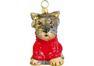 Yorkie Puppy with Red Cable Knit Sweater Christmas Ornament