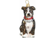 American Staffordshire Terrier Glass Christmas Ornament Brindle