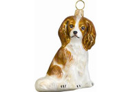 Cavalier King Charles Glass Christmas Ornament (Sitting Blenheim)
