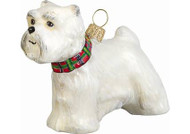 Westie Glass Christmas Ornament with Tartan Collar