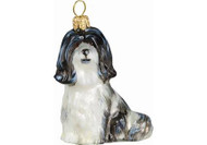 Havanese Glass Christmas Ornament (Black & White)