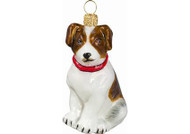 Jack Russell Terrier Glass Christmas Ornament (Brown & White with Red Collar)
