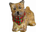 Cairn Terrier Glass Christmas Ornament w Tartan Bandana