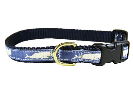 """Whale Dog Collar on Blue 5/8"""""""