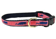 Whale Dog Collar Coral 5/8""