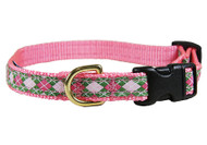 Pink and Green Argyle Dog Collar 5/8""