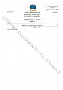 Example of an excerpt from a set of Angola copy corporate documents.