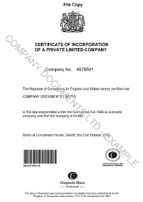 Example of a certificate of incorporation for a UK company. A similar certificate would be included in the full set of documents for a UK company.