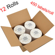 MFLABEL®  12 Rolls of 450 4x6 Direct Thermal Blank Shipping Labels for Zebra 2844 Zp-450 Zp-500 Zp-505