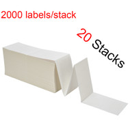 "MFLABEL® 20 Stacks Fanfold 4"" x 6"" Direct Thermal Labels White Perforated Zebra Shipping Labels (2,000 Labels per Stack)"