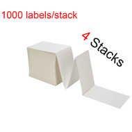 "MFLABEL® 4 Stacks Fanfold 4"" x 6"" Direct Thermal Labels White Perforated Zebra Shipping Labels (1,000 Labels per Stack)"