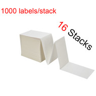 "MFLABEL® 16 Stacks Fanfold 4"" x 6"" Direct Thermal Labels White Perforated Zebra Shipping Labels (1,000 Labels per Stack)"