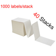 "MFLABEL® 40 Stacks Fanfold 4"" x 6"" Direct Thermal Labels White Perforated Zebra Shipping Labels (1,000 Labels per Stack)"