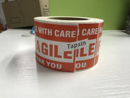Tapsin 1000 Fragile Stickers 2 Rolls 2'' x 3'' Fragile - Handle with Care - Thank You Shipping Labels Stickers (500 Labels / Roll)