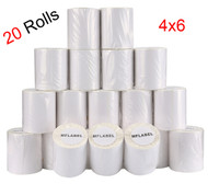 MFLABEL®  20 Rolls of 250 4x6 Direct Thermal Blank Shipping Labels for Zebra 2844 Zp-450 Zp-500 Zp-505