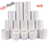 MFLABEL®  100 Rolls of 250 4x6 Direct Thermal Blank Shipping Labels for Zebra 2844 Zp-450 Zp-500 Zp-505