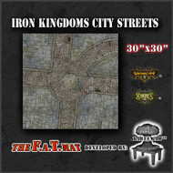 "30x30"" 'Iron Kingdoms City Streets' Privateer Press branded F.A.T. Mat Gaming Mat"