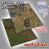 "30x22"" Dbl Sided 'Ruined City' + 'Jungle' F.A.T. Mat Gaming Mat"