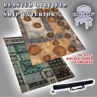 "30x22"" Dbl Sided 'Blasted Airfield' + 'Ship Interior' F.A.T. Mat Gaming Mat"
