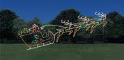 Santa Sleigh & 3 Reindeer - Animated