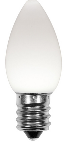 BOX QTY: 25 BULBS CASE QTY: 1000 BULBS Smooth White: Design a home Frosty the Snowman would approve of this winter with these smooth white LED bulbs. The classic smooth look of these cool white LED's will bring the charm of the north pole and Santa's work shop right to your home or business. The low energy using LED's generate a vibrant glow that lasts seven times longer than other bulbs. Line your roof or decorate your trees with the amazing glow of these cool white LED's.   •Each bulb has three professional grade LED's inside to create a bright glow. •The low watt LED bulbs allow for you to make longer runs while using low amounts of energy. •The bulbs remain cool to the touch because of the low energy LED bulbs inside. •These durable smooth textured bulbs have a 60,000 hour lifespan •We use nickel platted bases instead of brass to prevent corrosion. •Now you can get an LED C7 lamp without the faceted caps. These lamps remind us of the old opaque/ceramic bulbs of the past. •Indoor and Outdoor use *Per bulb price varies per bulb color*