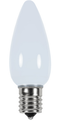 BOX QTY: 25 BULBS CASE QTY: 1000 BULBS Smooth White: Design a home Frosty the Snowman would approve of this winter with these smooth white LED bulbs. The classic smooth look of these cool white LED's will bring the charm of the north pole and Santa's work shop right to your home or business. The low energy using LED's generate a vibrant glow that lasts seven times longer than other bulbs. Line your roof or decorate your trees with the amazing glow of these cool white LED's.   •Each bulb has three professional grade LED's inside to create a bright glow. •The low watt LED bulbs allow for you to make longer runs while using low amounts of energy. •The bulbs remain cool to the touch because of the low energy LED bulbs inside. •These durable smooth textured bulbs have a 60,000 hour lifespan •We use nickel platted bases instead of brass to prevent corrosion. •Now you can get an LED C9 lamp without the faceted caps. These lamps remind us of the old opaque/ceramic bulbs of the past. •Indoor and Outdoor use *Per bulb price varies per bulb color*
