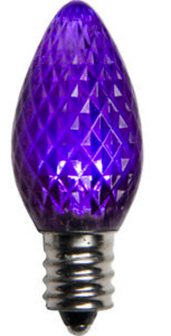 BOX QTY: 25 BULBS CASE QTY: 1000 BULBS Retro Fit Purple: Make yourself feel like royalty with the rich purple glow of these LED bulbs. There durable LED bulbs will look great this Mardi Gras when accented with green and yellow bulbs! The low energy using LED's generate a vibrant glow that lasts seven times longer than other bulbs.  •	Each bulb has three professional grade LED's inside to create a bright glow.  •	The low watt LED bulbs allow for you to make longer runs while using low amounts of energy.  •	The bulbs remain cool to the touch because of the low energy LED bulbs inside.  •	These durable smooth textured bulbs have a 60,000 hour lifespan •	We use nickel platted bases instead of brass to prevent corrosion. •	Now you can get an LED C7 lamp without the faceted caps.  •	Indoor and Outdoor use *Per bulb price varies per bulb color*