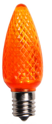 BOX QTY: 25 BULBS CASE QTY: 1000 BULBS Retro Fit Orange: Scare off all the ghosts and goblins this Halloween with these vibrant orange LED'S. The classic style and high quality of these bulbs require low to zero maintenance. The low energy using LED's generate a vibrant glow that lasts seven times longer than other bulbs. Put these bulbs with green and white bulbs and you will feel the luck of the Irish running through your home or business.   •Each bulb has three professional grade LED's inside to create a bright glow. •The low watt LED bulbs allow for you to make longer runs while using low amounts of energy. •The bulbs remain cool to the touch because of the low energy LED bulbs inside. •These durable smooth textured bulbs have a 60,000 hour lifespan •We use nickel platted bases instead of brass to prevent corrosion. •Now you can get an LED C9 lamp without the faceted caps.  •Indoor and Outdoor use *Per bulb price varies per bulb color*