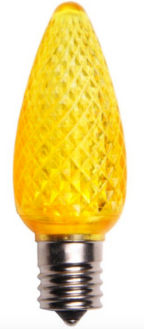 BOX QTY: 25 BULBS CASE QTY: 1000 BULBS Shine bright like the gold standard with these bright yellow LED bulbs. These LED yellow bulbs would bring your Mardi Gras party to life when accent with other green and purple LED bulbs. The low energy using LED's generate a vibrant glow that lasts seven times longer than other bulbs. The durability of these bulbs make them great for lining walk ways or fencing. •Each bulb has three professional grade LED's inside to create a bright glow. •The low watt LED bulbs allow for you to make longer runs while using low amounts of energy. •The bulbs remain cool to the touch because of the low energy LED bulbs inside. •These durable smooth textured bulbs have a 60,000 hour lifespan •We use nickel platted bases instead of brass to prevent corrosion. •Now you can get an LED C9 lamp without the faceted caps.  •Indoor and Outdoor use *Per bulb price varies per bulb color*