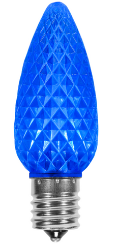 BOX QTY: 25 BULBS CASE QTY: 1000 BULBS Retro Fit Blue: Create your own winter wonderland with these LED blue retro fit bulbs. These LED bulbs have a vibrant blue glow that can accent icicle lights and cool white bulbs to turn your home or business into an ice kingdom. The low energy LED's inside the bulbs will make sure your ice castle won't melt this holiday season.  Elsa and Olaf approve of these holiday bulbs for their Frozen world.    •Each bulb has three professional grade LED's inside to create a bright glow. •The low watt LED bulbs allow for you to make longer runs while using low amounts of energy. •The bulbs remain cool to the touch because of the low energy LED bulbs inside. •These durable smooth textured bulbs have a 60,000 hour lifespan •We use nickel platted bases instead of brass to prevent corrosion. •Now you can get an LED C9 lamp without the faceted caps.  •Indoor and Outdoor use *Per bulb price varies per bulb color*