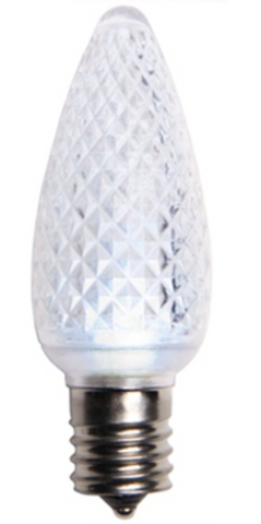 BOX QTY: 25 BULBS CASE QTY: 1000 BULBS Make your home look like Elsa's ice castle with these vibrant white LED bulbs. These bulbs when accented with blue will turn your home or business into a winter wonderland. Cool white bulbs look great on roof lines, bushes, trees, and even indoors for family rooms or accent lighting. The low energy using LED's generate a vibrant glow that lasts seven times longer than other bulbs.  •Each bulb has three professional grade LED's inside to create a bright glow. •The low watt LED bulbs allow for you to make longer runs while using low amounts of energy. •The bulbs remain cool to the touch because of the low energy LED bulbs inside. •These durable smooth textured bulbs have a 60,000 hour lifespan •We use nickel platted bases instead of brass to prevent corrosion. •Now you can get an LED C9 lamp without the faceted caps.  •Indoor and Outdoor use *Per bulb price varies per bulb color*