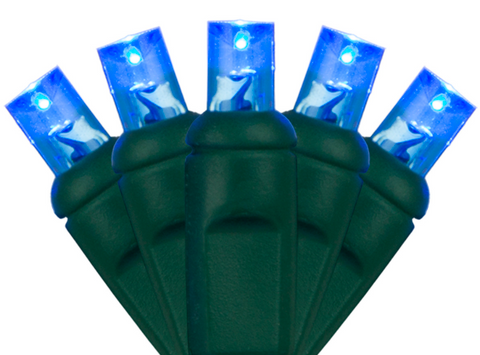 """Blue 5mm: I can guarantee these bright LED's won't give you the blues! These beautiful blue 5mm LED's look great when accented with red and white for the fourth of July or when decorating your house this winter. When these blue lights are accented with cool white, it will turn your home or business into an ice castle Elsa would be proud of. This low energy LED strand provides you the opportunity to plug in up to 38 strands into one another on a single run. The durability of this strand makes it great for lighting trees, bushes, and even inside your home or business.  •A 5mm bulb that comes in both 6-inch spacing (25ft) and 4-inch spacing (17ft) in a 50 light set. •The 4"""" spacing or 17-foot strand, is better for wrapping trees. •The 6"""" spacing or 25-foot strand, is better for canopies in deciduous trees and evergreen trees and bushes. •Connect up to 43 sets end to end. •Bulb Life of 100,000 hours. •If one bulb burns out, the rest will continue to burn. •Cool burning because of the low energy usage. •This end to end strand has molded on sockets with rectified construction. •Sold in polybags for easy use. •Indoor and outdoor use. •Non fading for years of enjoyment. •Three Year Guarantee."""