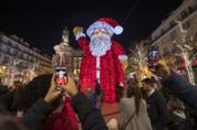 Giant Standing Waving Santa