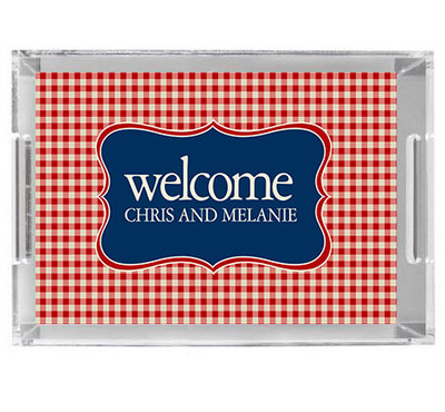 Acrylic Tray- Red Gingham