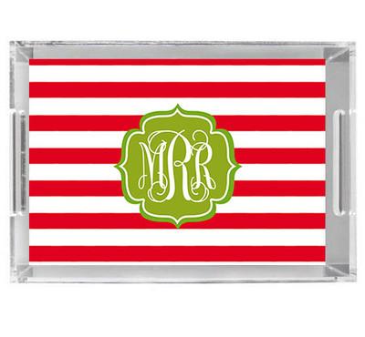 Acrylic Tray- Holiday Stripes