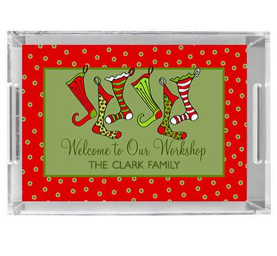 Acrylic Tray- Holiday Stockings