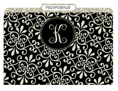 File Folders-Black Khaki Swirl