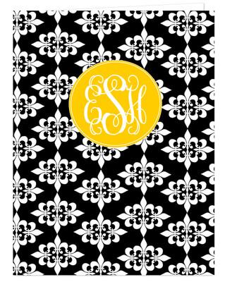Pocket Folder - Black Damask