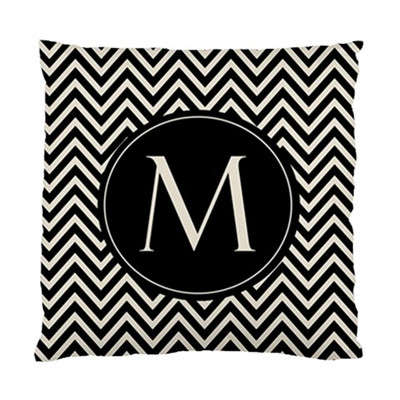 Pillow-Black and Khaki Chevron