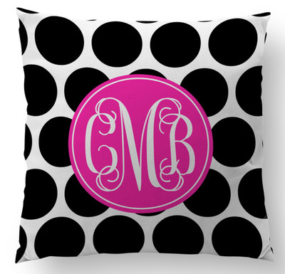 Pillow-Black Polka Dot