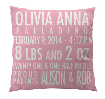 Pillow-Birth Announcement II