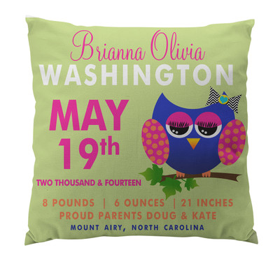 Pillow-Birth Announcement-Owl