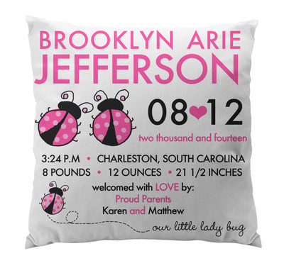 Pillow-Birth Announcement-Ladybugs