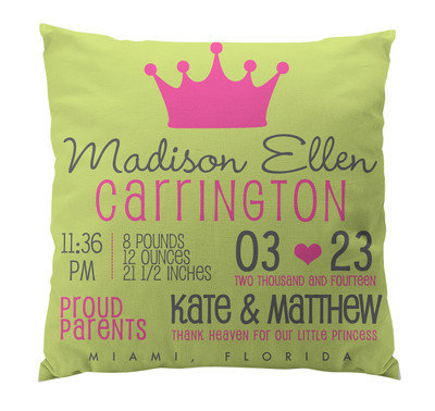 Pillow-Birth Announcement-Princess
