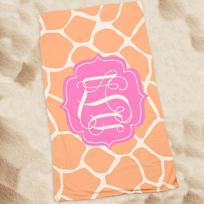 Beach Towel-Coral Giraffe