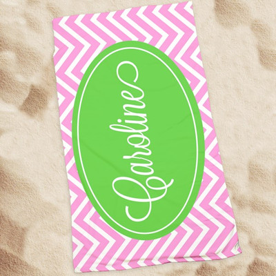 Beach Towel-Pink Chevron