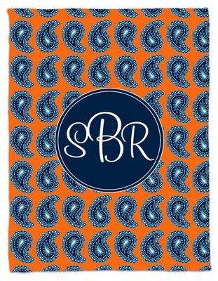 Blanket- Orange Denim Paisley