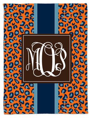 Blanket- Orange Denim Leopard
