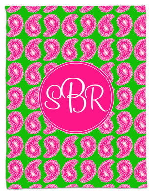Blanket- Pink and Green Paisley